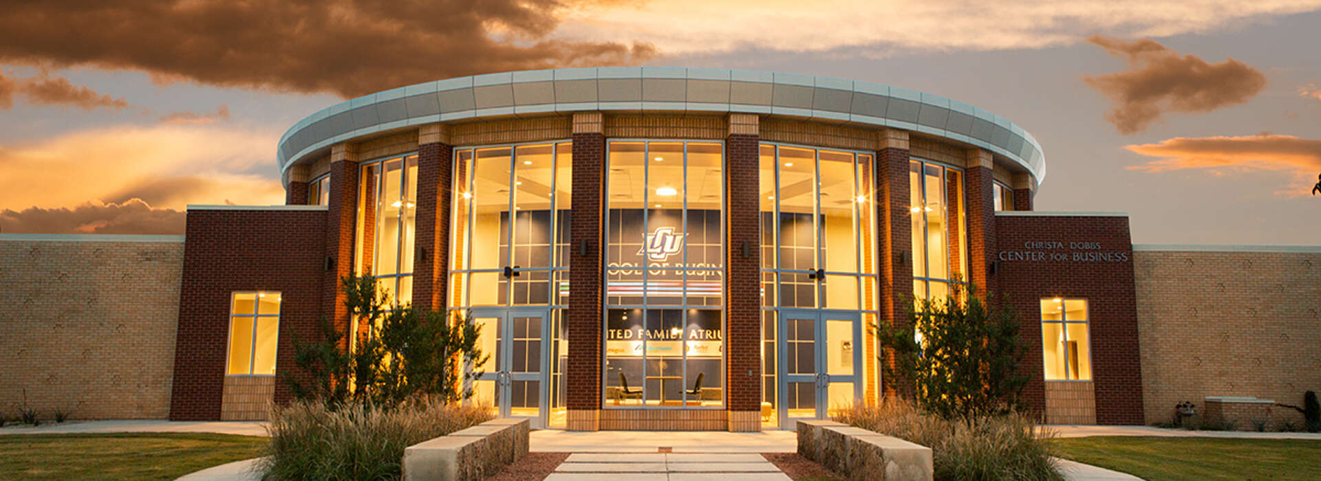 LCU School of Business at sunset