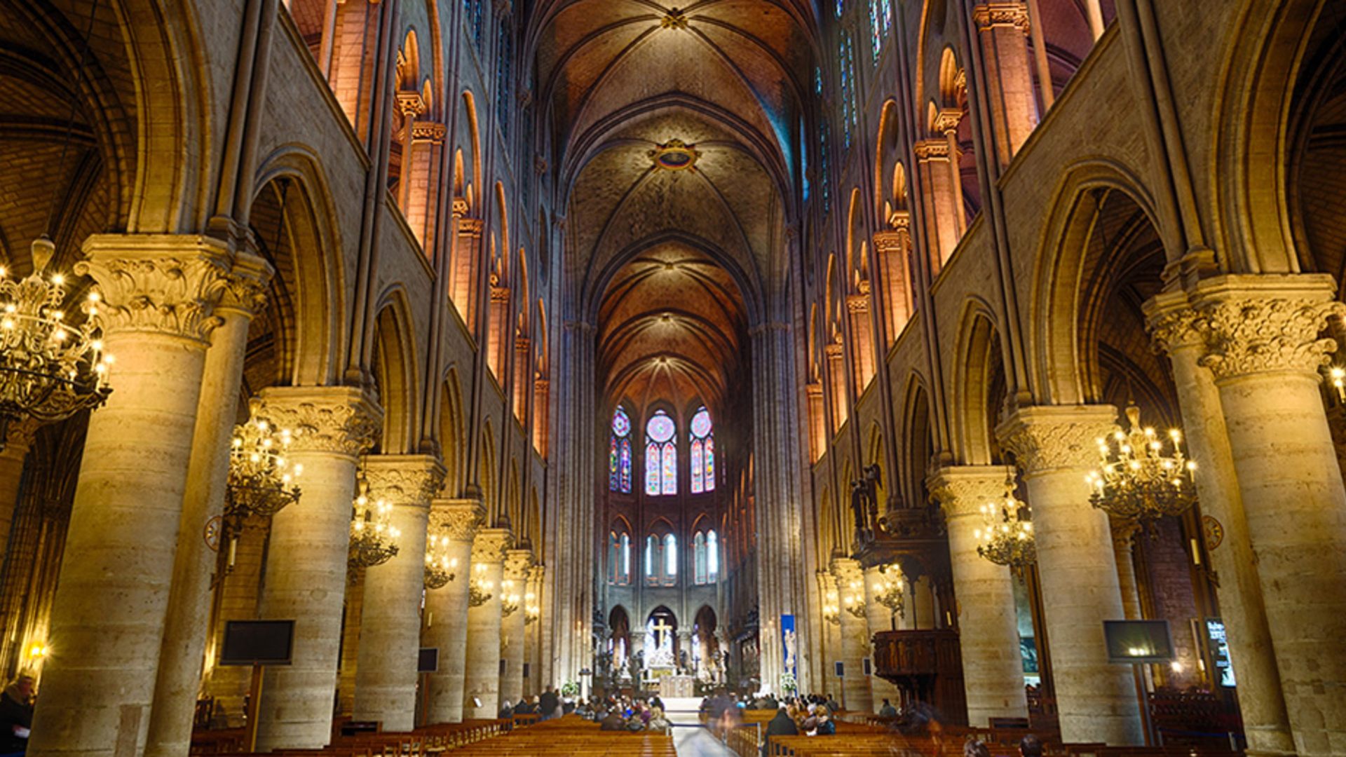 Interior of the Notre Dame Cathedral, Paris, France