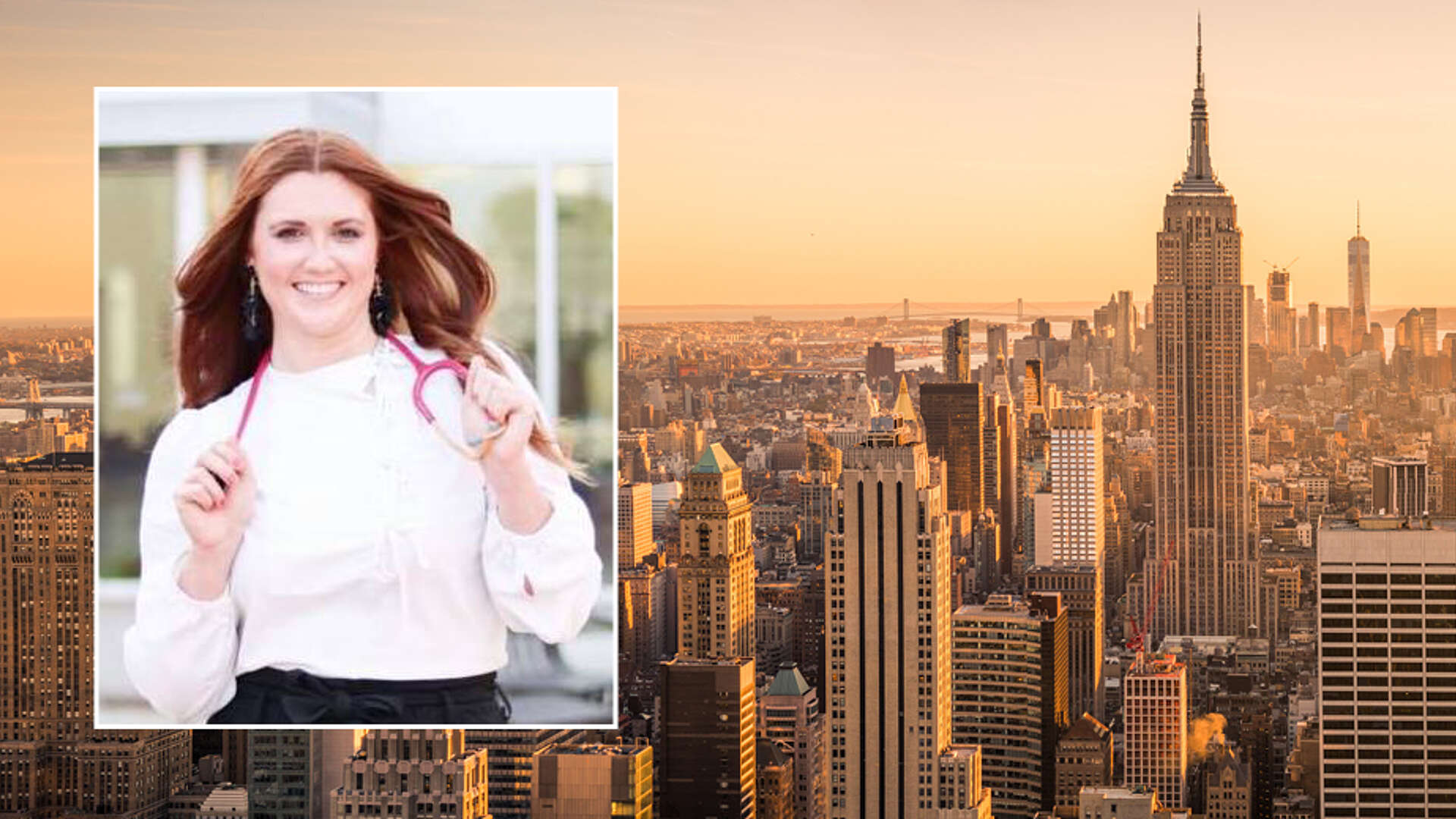 inset photo of Nici Rogers with stethoscope, background image of New York skyline