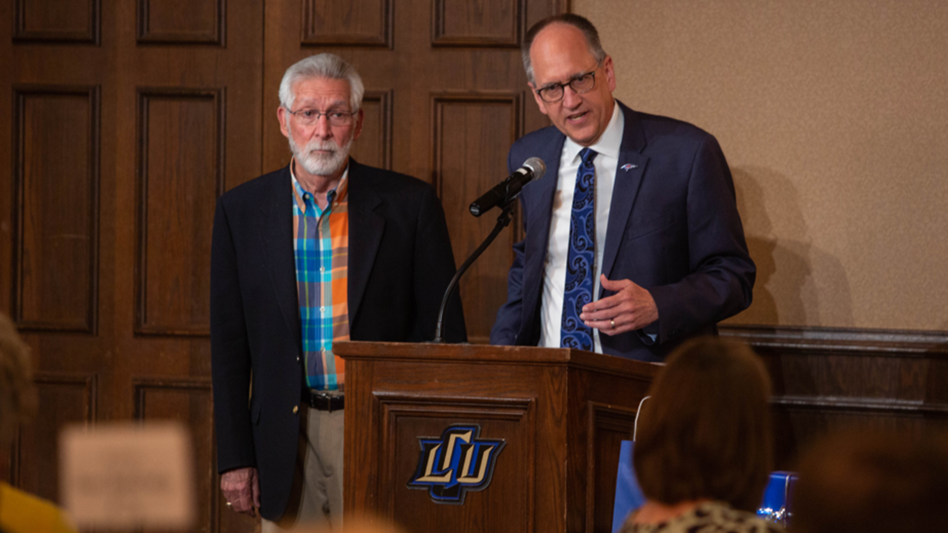 President Perrin and Dr. Don Williams at the LCU podium