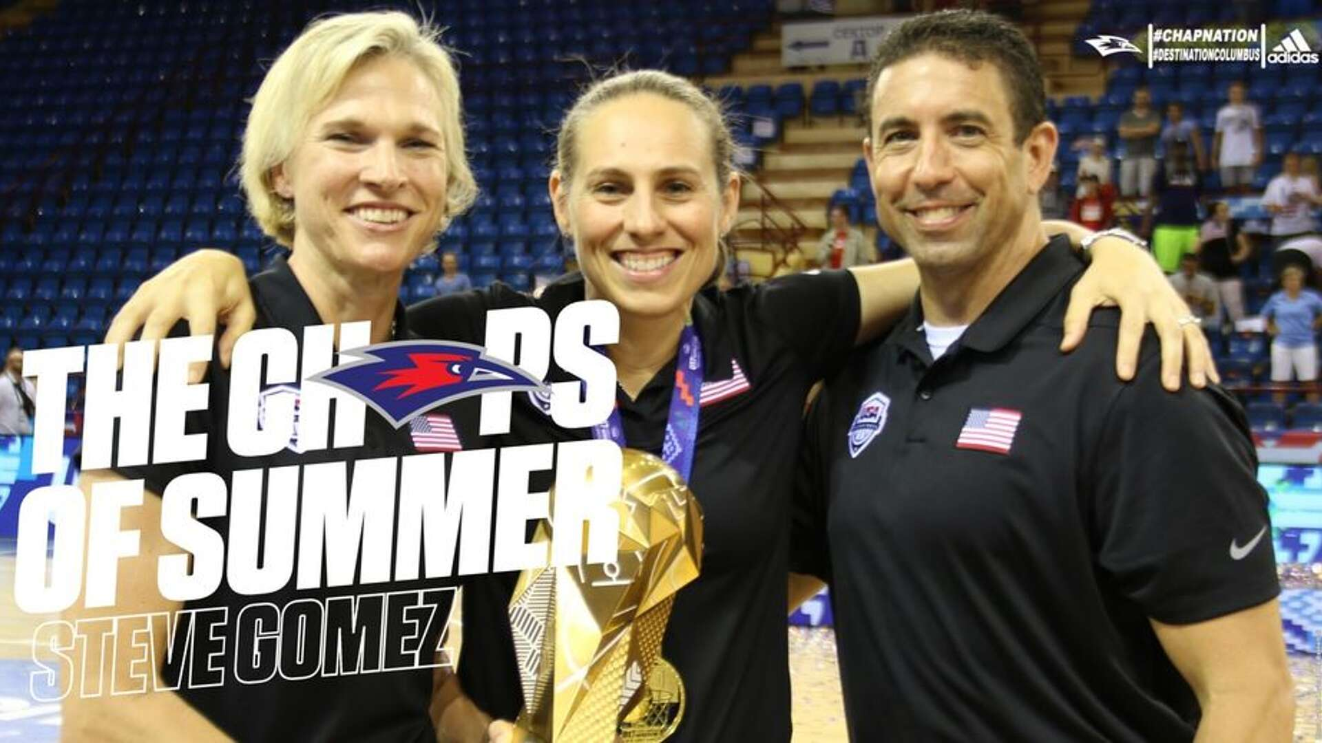 Gomez pictured with other USA coaches and the World Cup gold medal.