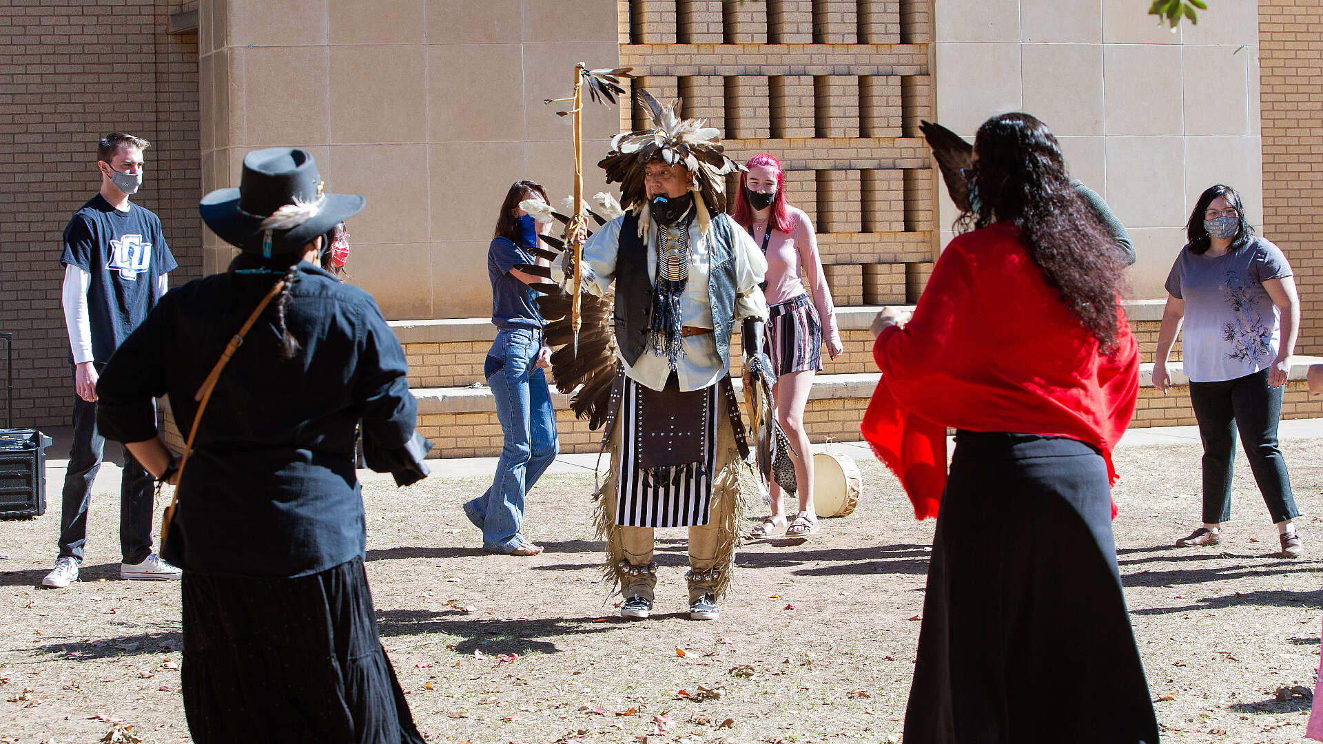 Native American guest demonstrates cultural dance for LCU students