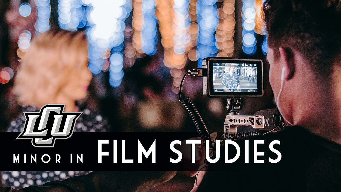 LCU minor in film studies, student videographer records a female student in the background