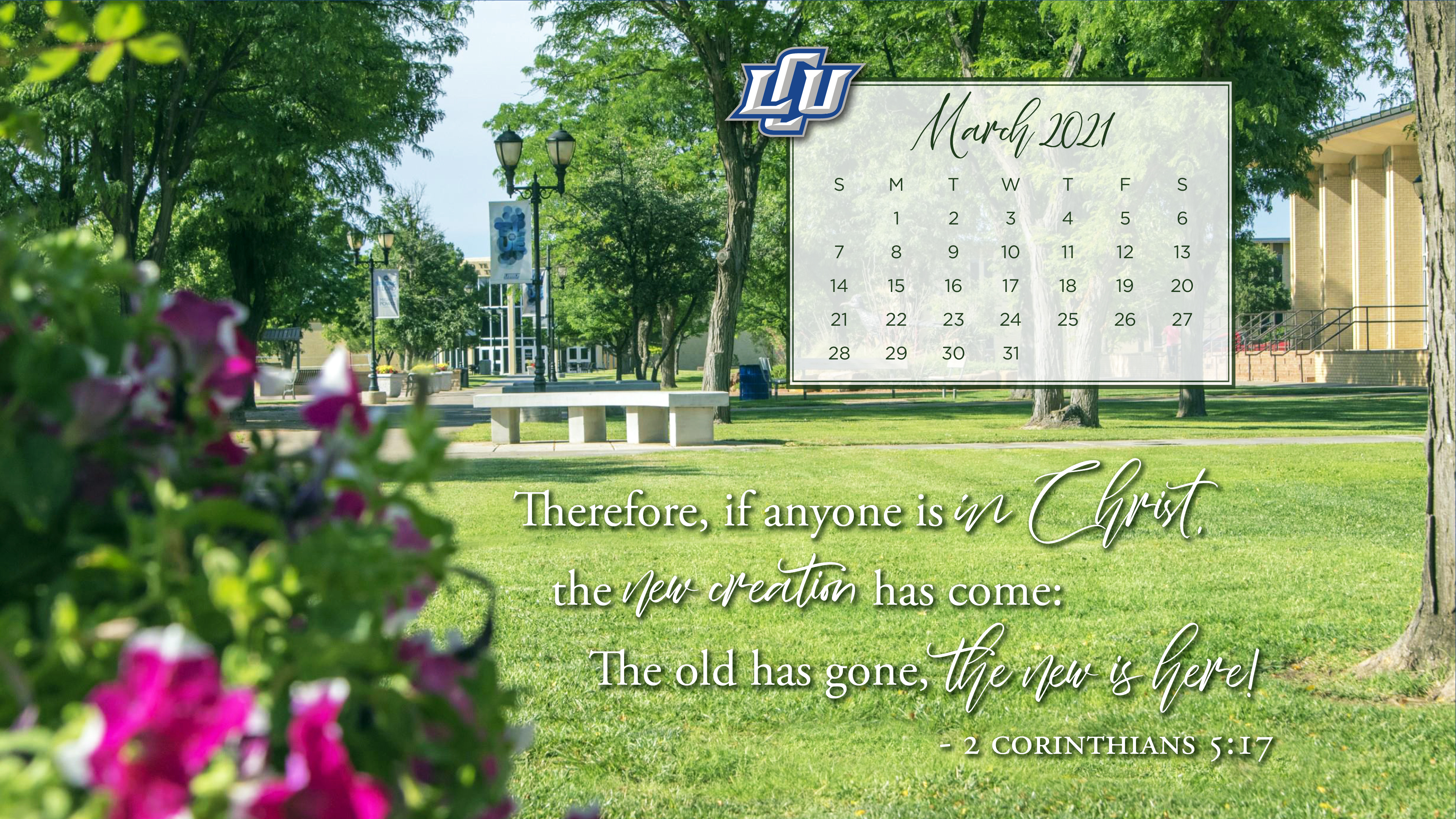 calendar background with scripture