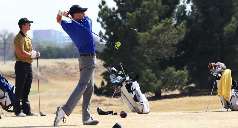 Member of LCU men's golf team teeing off